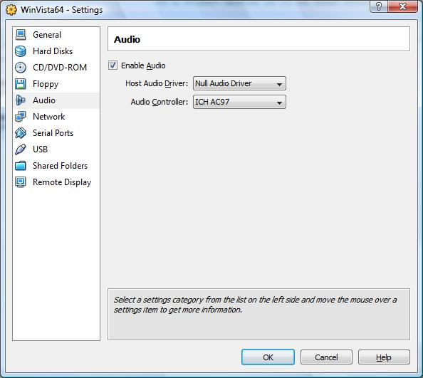 The VirtualBox Audio settings page