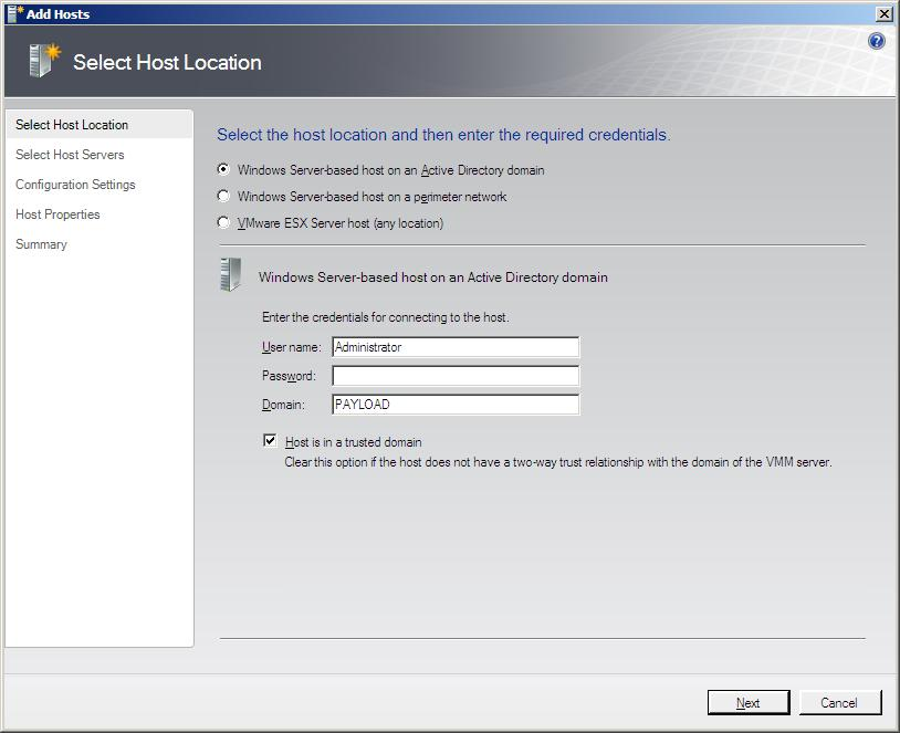The Select Host Location screen of the VMM Administrator Console Add Hosts Wizard