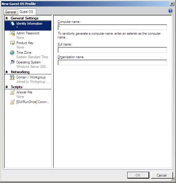 The VMM 2008 guest OS profile settings