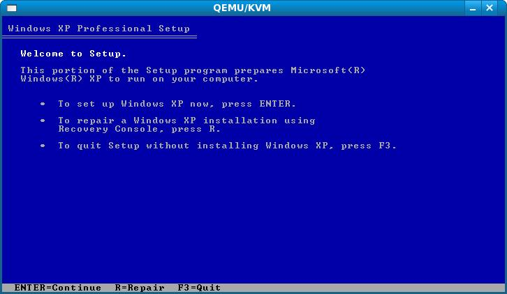 The Windows XP Professional setup process running under KVM