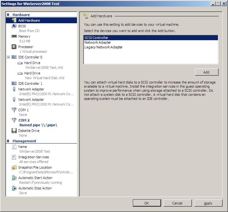 Configuring Hyper-V Virtual Machine Settings