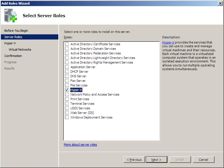 The Windows Server 2008 Roles Selection Wizard with Hyper-V selected
