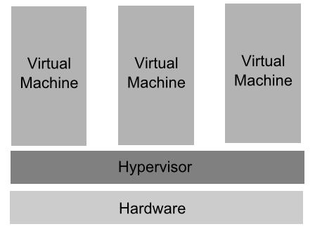 Type 1 Virtualization with Hypervisor running directly on hardware