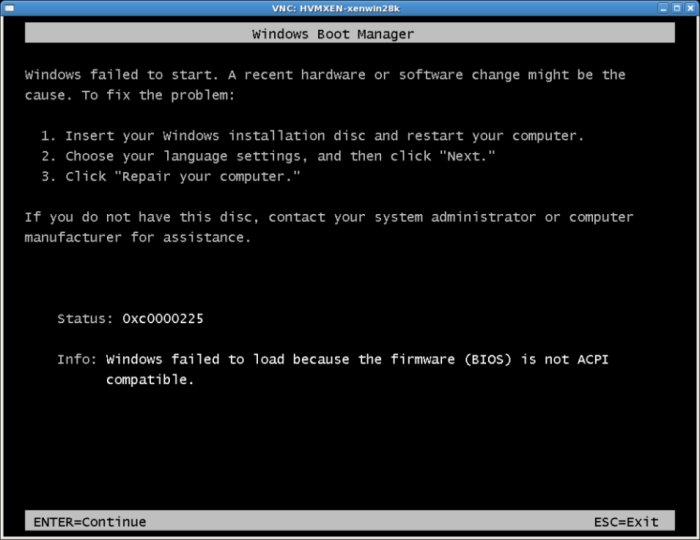 Windows Server 2008 failing to installl under Xen
