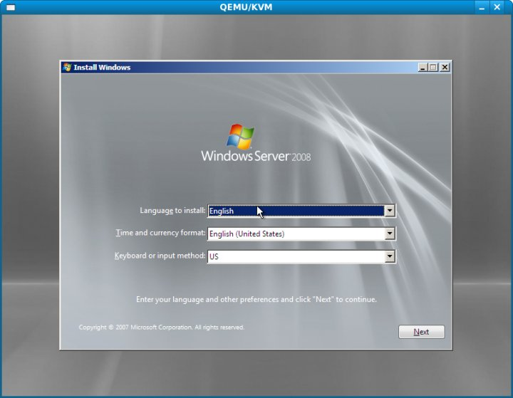 The Windows Server 2008 setup process running under KVM