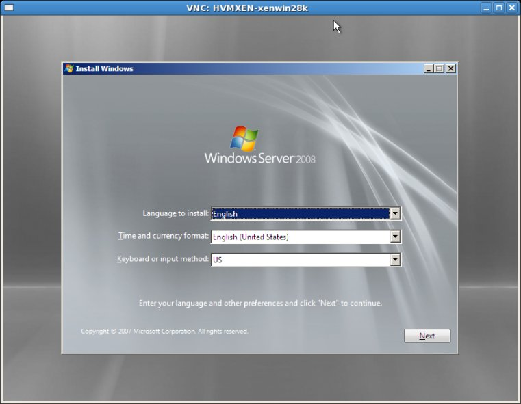 Windows Server 2008 installation viewed using VNC