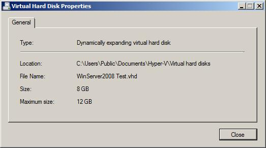 The properties of a Hyper-V Virtual Hard Disk (VHD)
