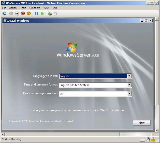 A Hyper-V Virtual Machine Console displayed by Virtual Machine Connection