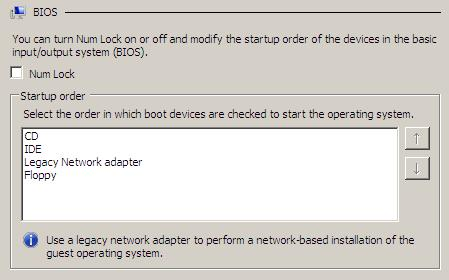 The Hyper-V Virtual Machine BIOS Settings screen