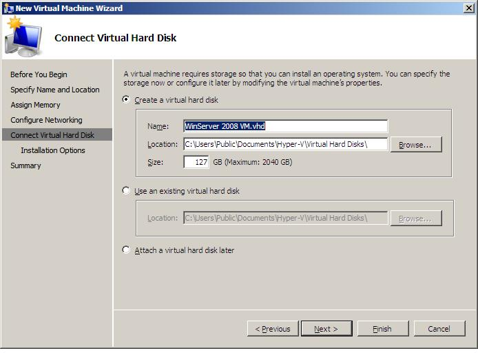 Specifying the Virtual Hard Disk for a Virtual Machine