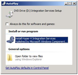 Guest operating system autoruns Hyper-V Integration Services setup disk image