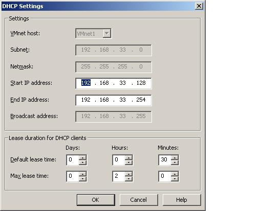 Configuring the DHCP settings for a specific virtual network