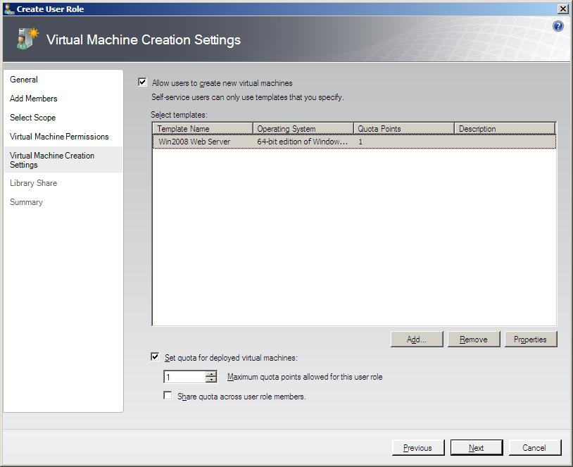 Configuring VMM Self-Service user virtual machine creation templates
