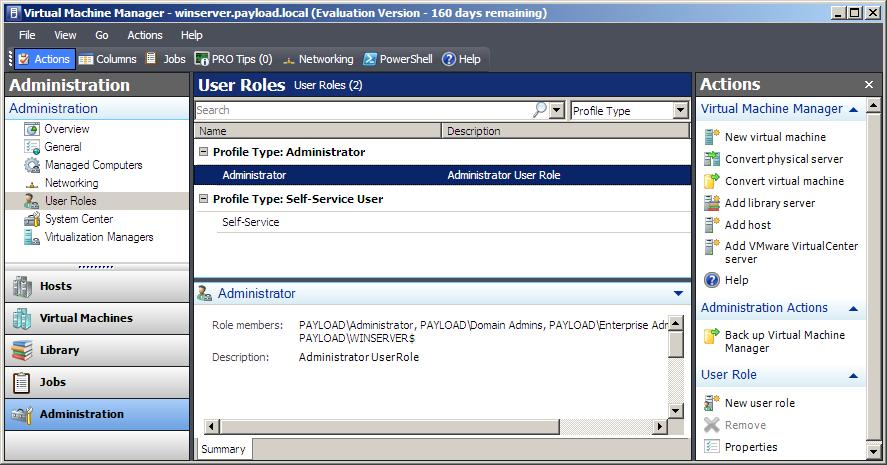 Currently configured VMM 2008 user roles