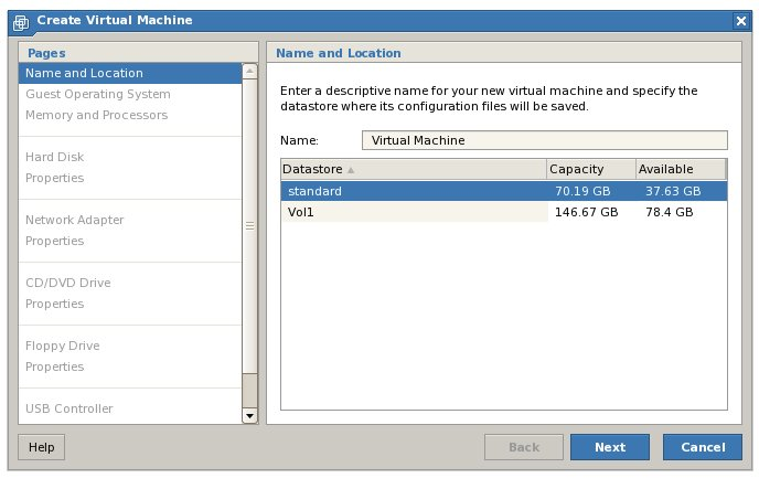 The VMware Server 2.0 New Virtual Machine wizard
