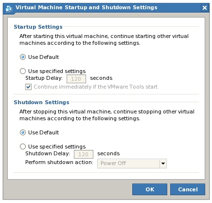 Overriding VMware Server host-wide virtual machine startup and shutdown defaults