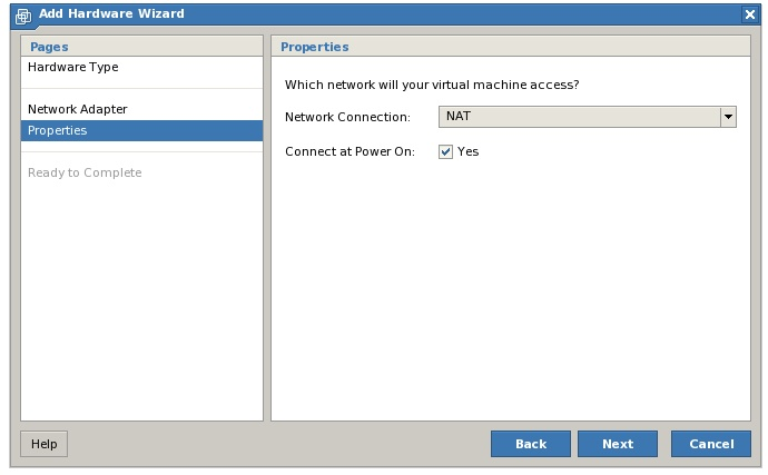 The VMware Server 2 Add New Network Adapter Wizard