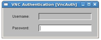 The vncviewer tool asks for a password if one was specified in the Xen domainU configuration file.