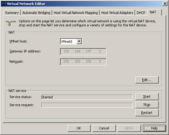 The NAT page of the VMware Virtual Network Editor tool
