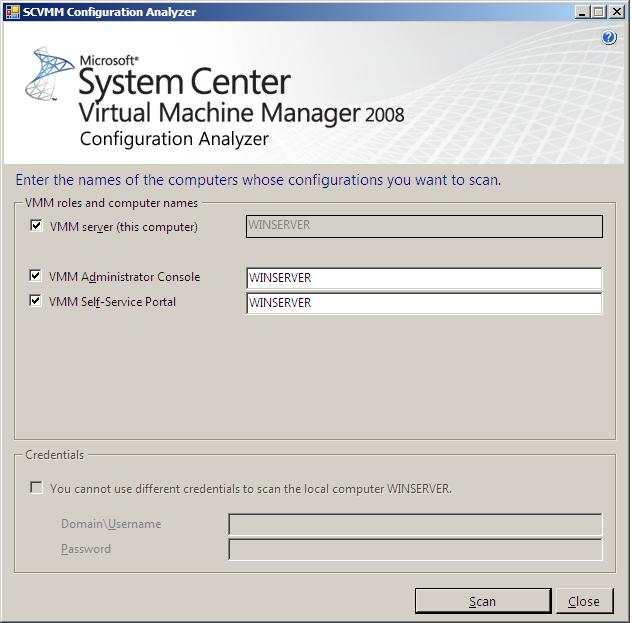 The System Center VMM Configuration Analyzer