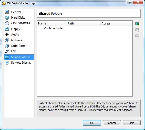 Configuring shared folder settings on a VirtualBox VM