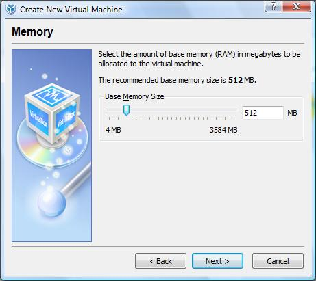 Configuring memory for a VirtualBox virtual machine
