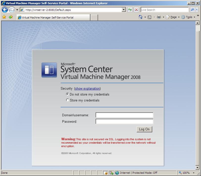The VMM Self-Service Portal Log in Screen