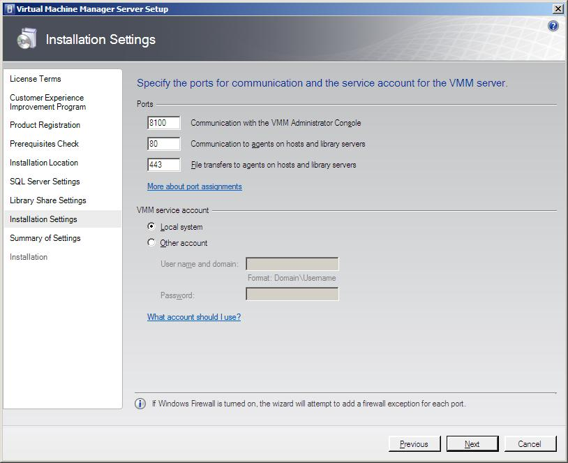 Configuring VMM 2008 port settings
