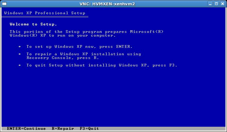Windows installation viewed using VNC