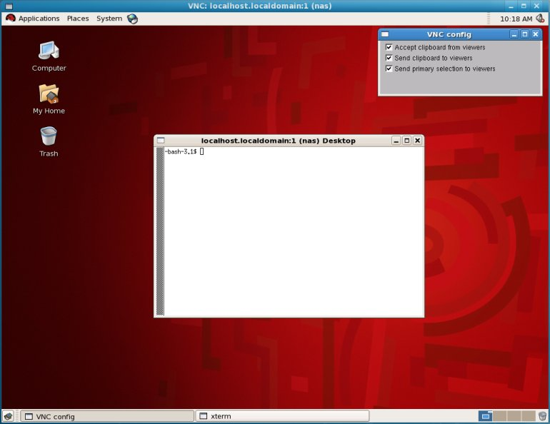 The GNOME desktop running on a Xen domainU system displaying over VNC