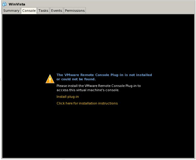 The VMware Remote Console Plug-in has not yet been installed on this web browser