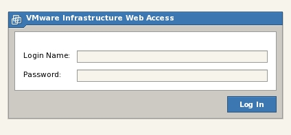 Logging into the VMware Server 2 VI Web Access Management Interface