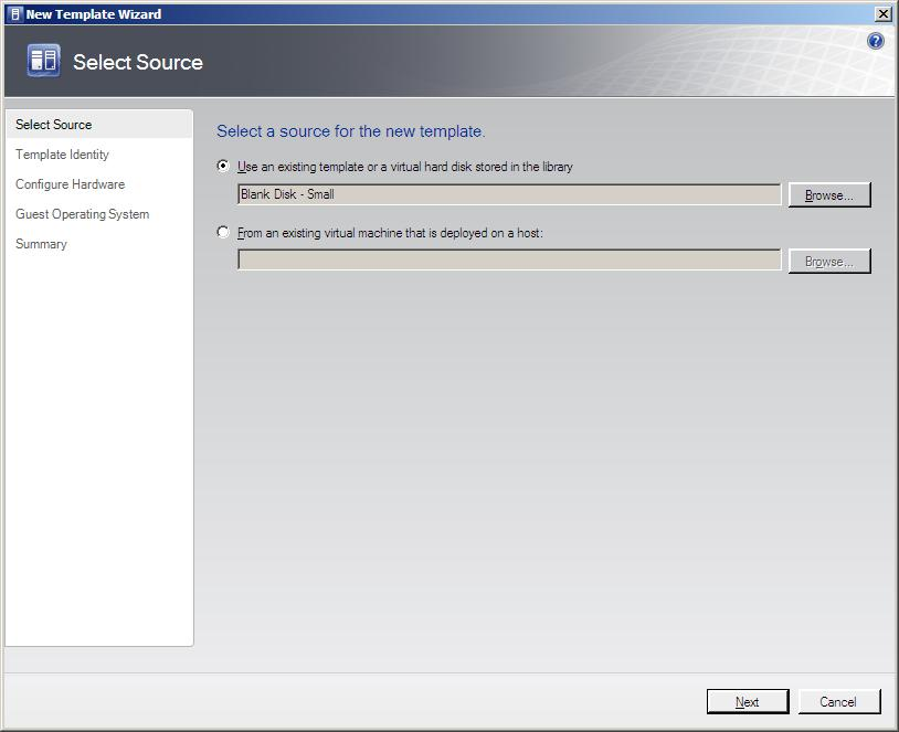 The VMM Administrator Console New Template Wizard