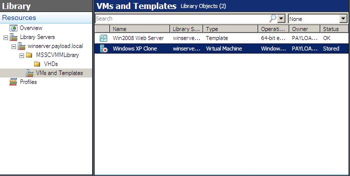 A list of virtual machines stored in the library
