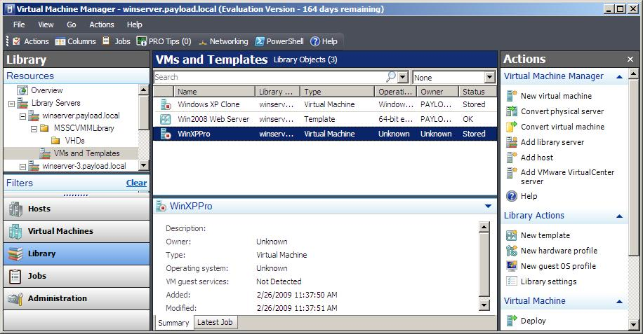 A VMware .vmx configuration file imported into VMM Library