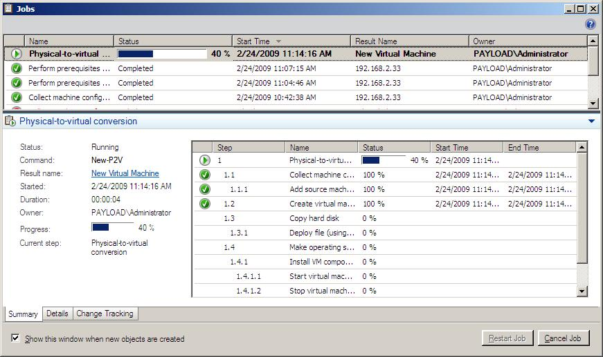 The VMM 2008 P2V wizard summary screen