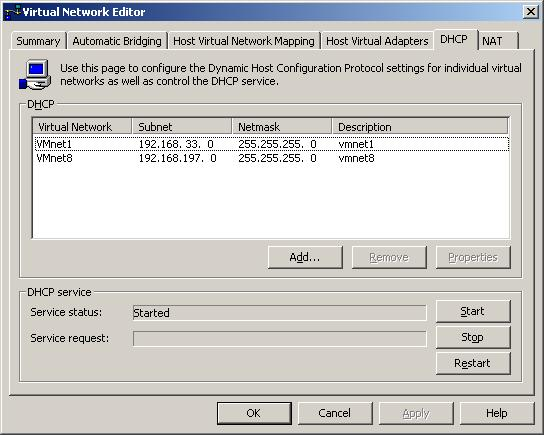 Configuring the DHCP settings on a VMware Server Windows host