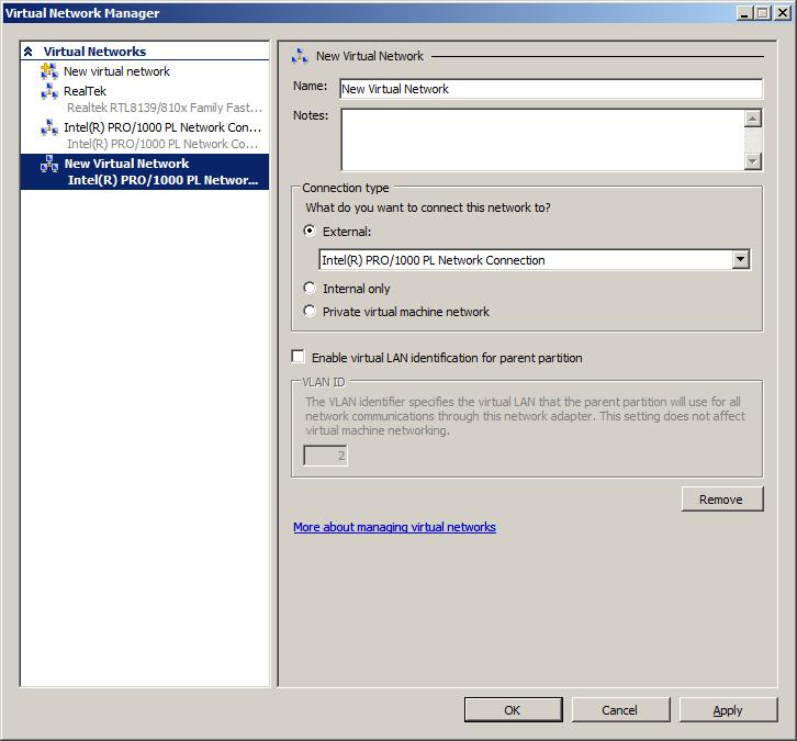 The Hyper-V Virtual Network Settings Screen