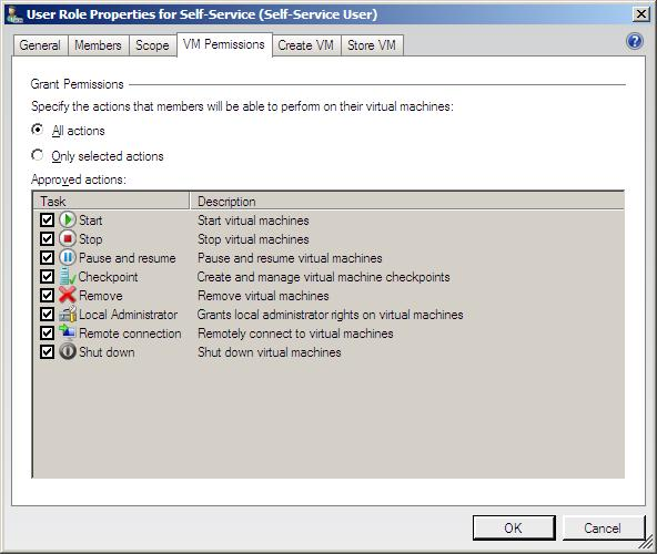 The properties of a VMM 2008 Self-Service user role
