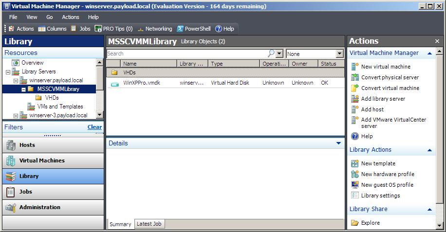 A VMware vmdk file imported into VMM Library