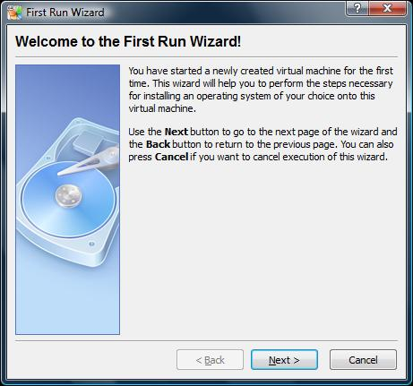 The VirtualBox First Run Wizard