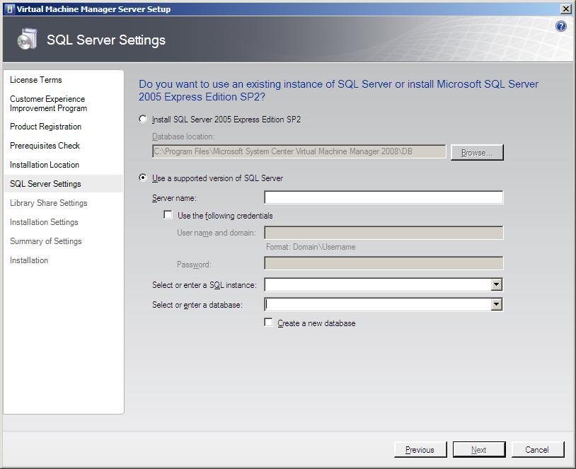 Configuring SQL Server settings during VMM Server Installation