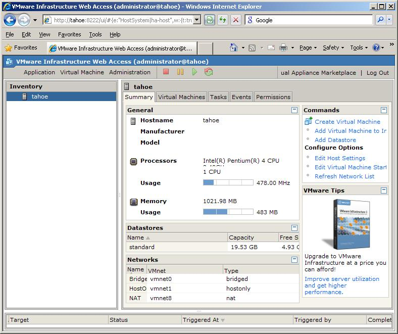 The VMware Infrastructure Web Access Interface on Windows