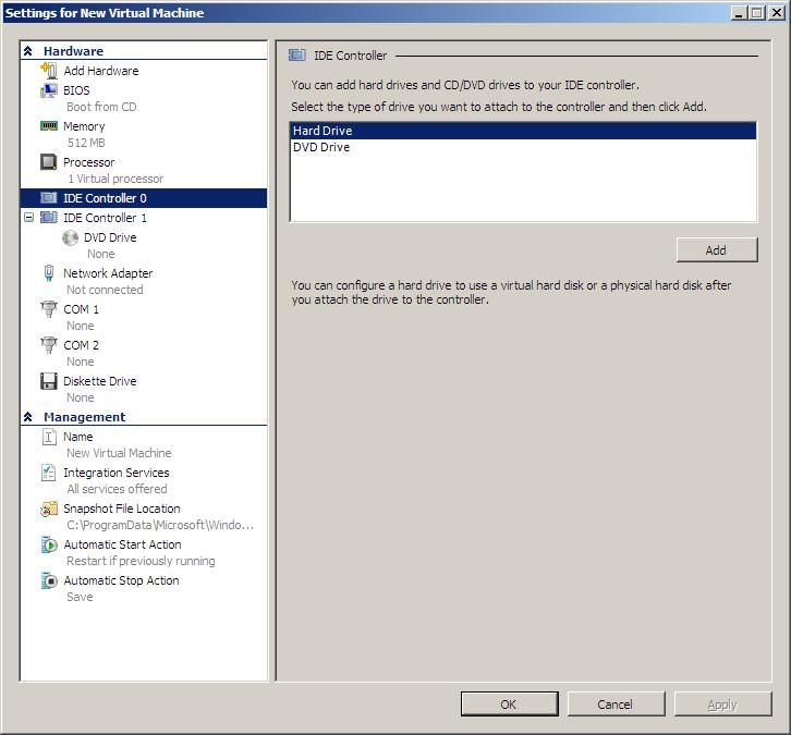 Adding a new virtual disk to a hyper-V virtual machine