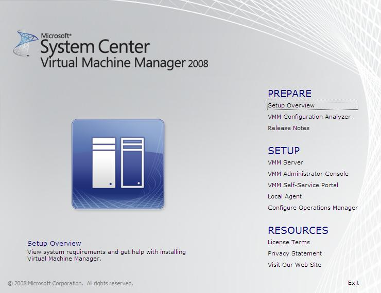 The VMM 2008 Setup menu screen