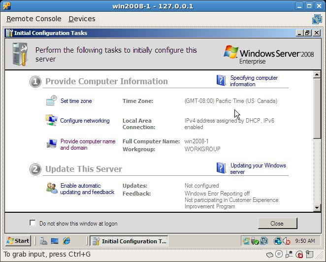 A VMware Remote Console Displaying a Windows Server 2008 Guest