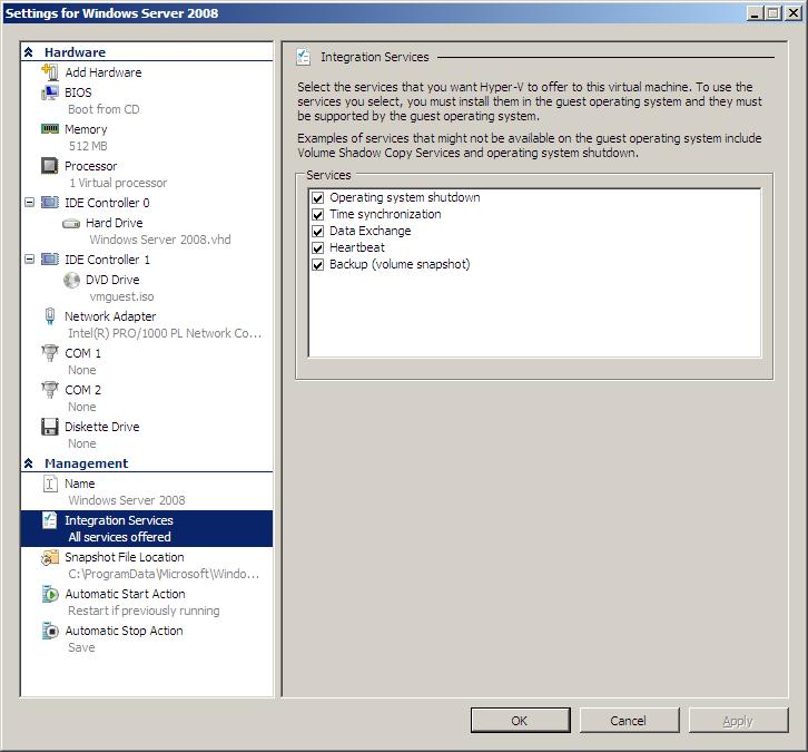 Configuring integration services provided to a Hyper-V guest operating system