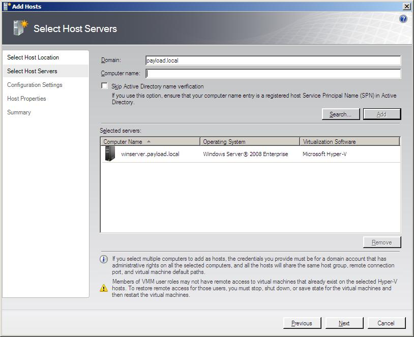 Adding a host server to the VMM Administrator Console