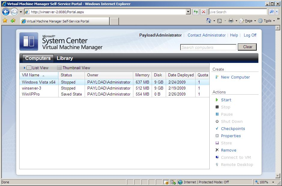 The main page of the VMM Self-Service Portal