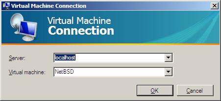 The Hyper-V VMConnect login dialog